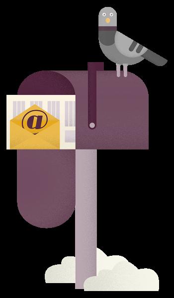 Ilustrácia poštovej schránky s poštou vo vnútri. Na schránke stojí poštový holub.