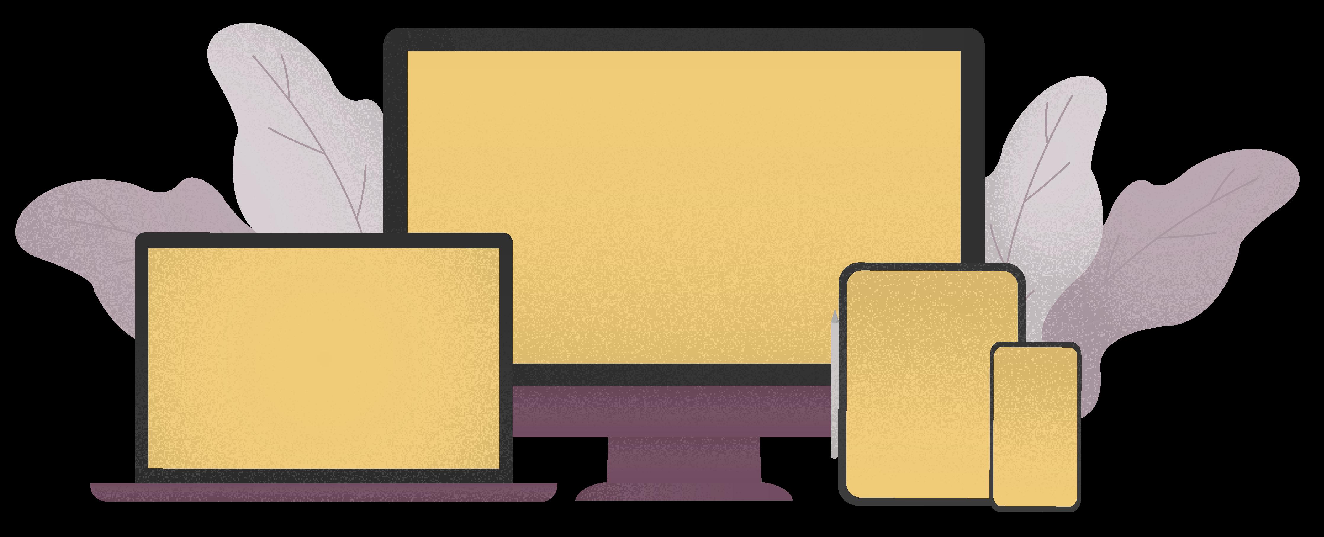 Ilustrácia monitoru, notebooku, tabletu a telefónu. Responzívne zariadenia.