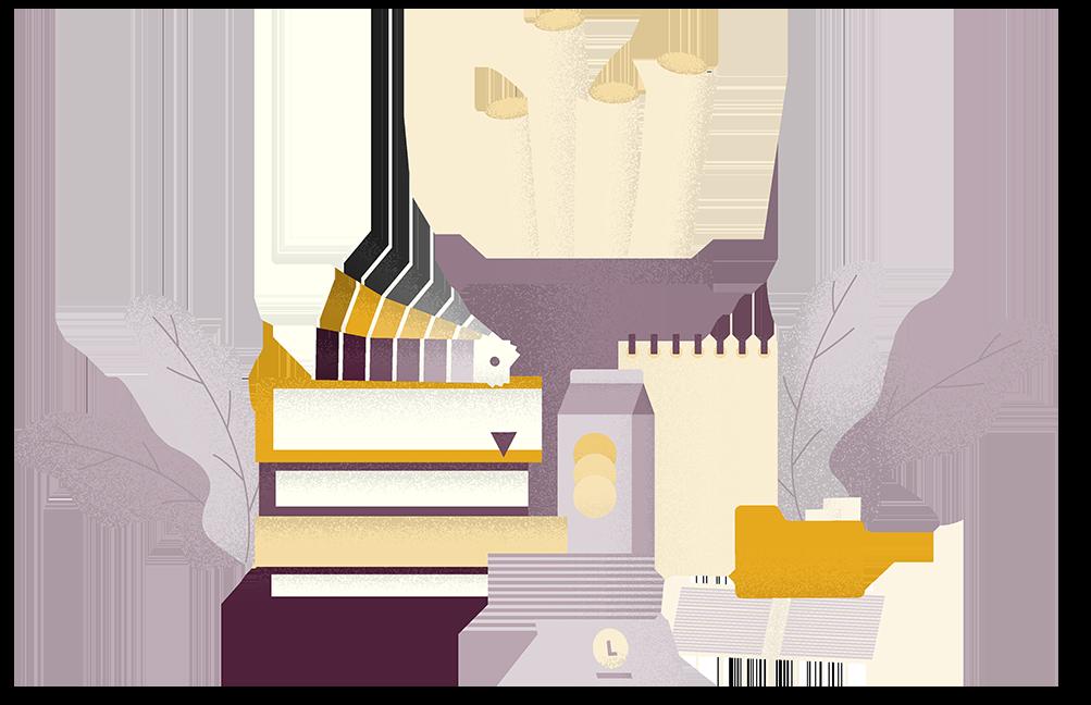 Ilustrácia printových médií. Produkty grafického dizajnu.