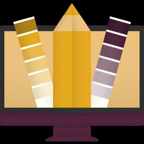 Ilustrácia monitoru z ktorého vychádza ceruzka a farebné vzorkovníky.