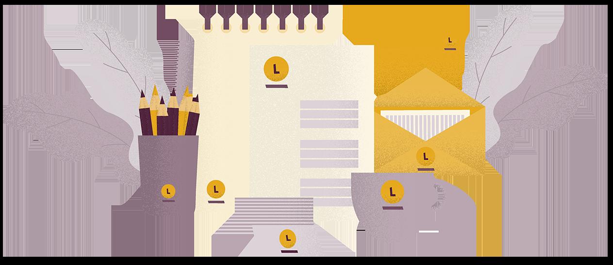 Ilustrácia firemných materiálov znázorňujúcich jednotný branding.