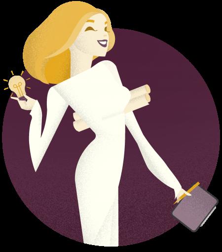 Ilustrácia blond ženy v bielych šatoch. Žena v jednej ruke drží žirovku a v druhej ruke drží tablet.